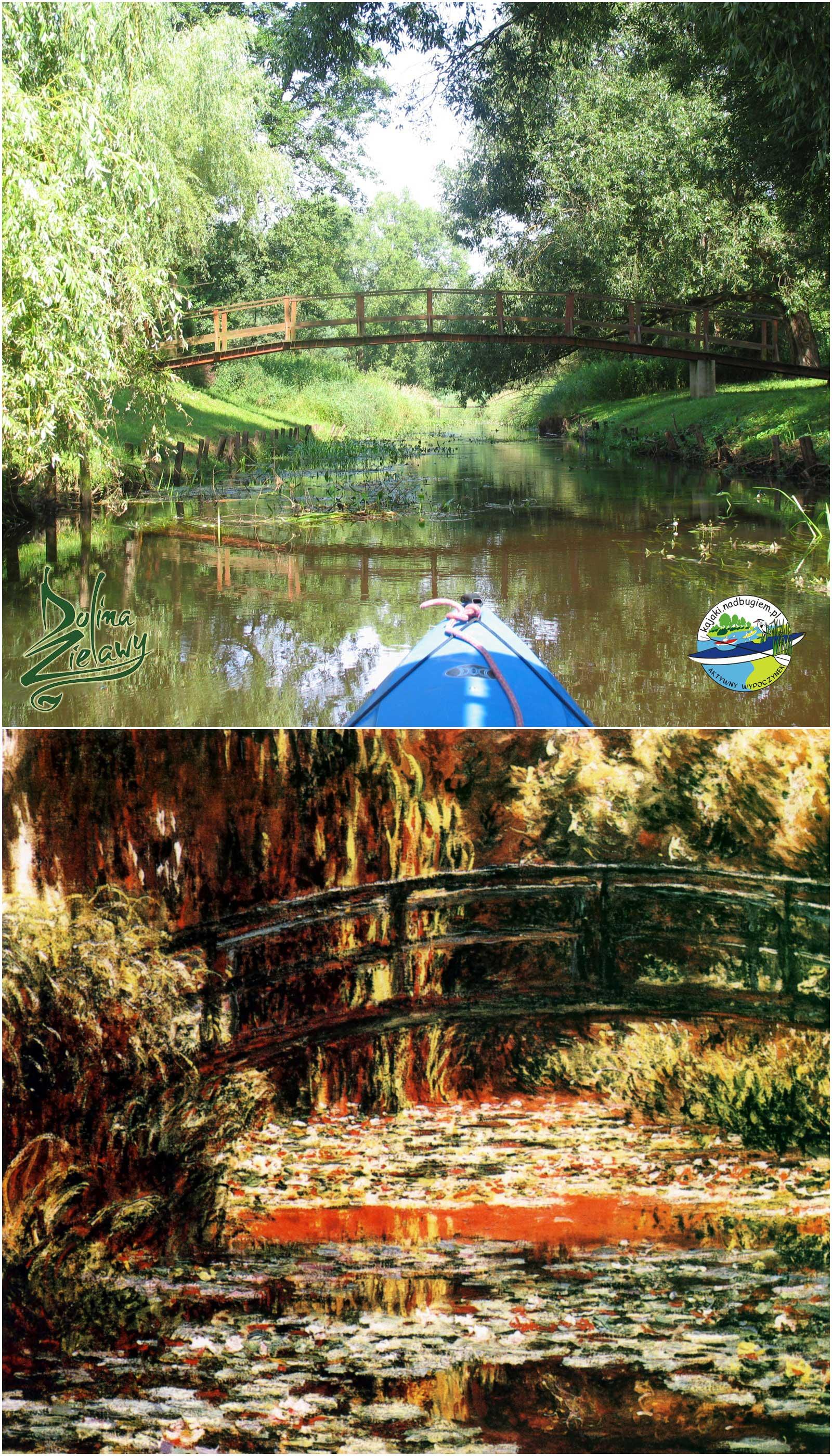 Nad Zielawą. Bardzo piękny widok na mostek podczas spływu kajakowego po Zielawie.