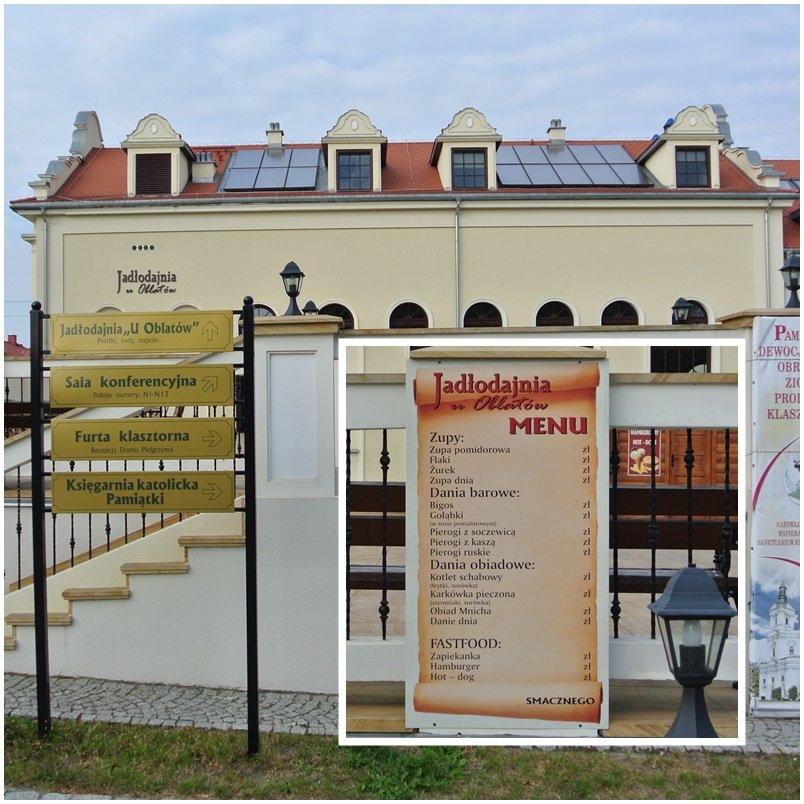 Pielgrzymka kajakowa posila się w jadłodajni u Oblatów w Kodniu