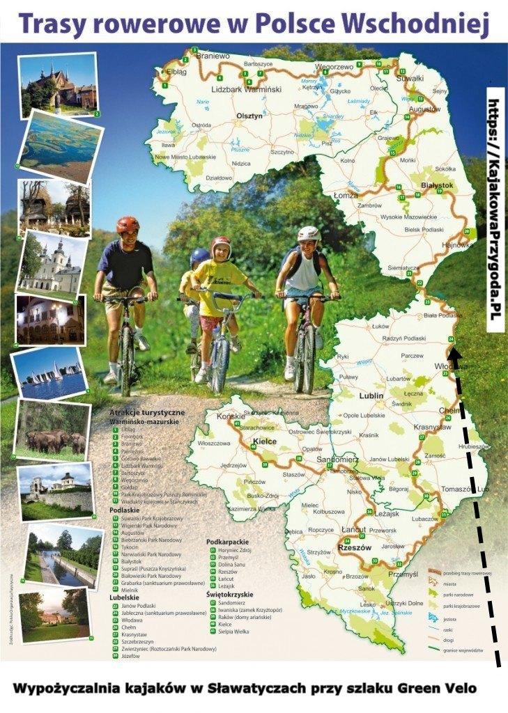 Trasa rowerowa Green Velo - wypożyczalnia kajaków nad Bugiem