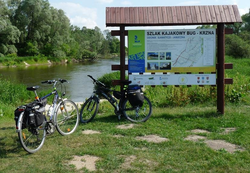 Miejsce zamiany rowerów na kajaki. Wschodni Szlak Rowerowy Green Velo