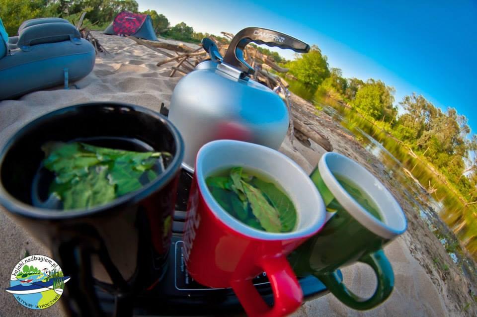 Poranna herbata miętowa na porannym spływie kajakowym do Jabłecznej.
