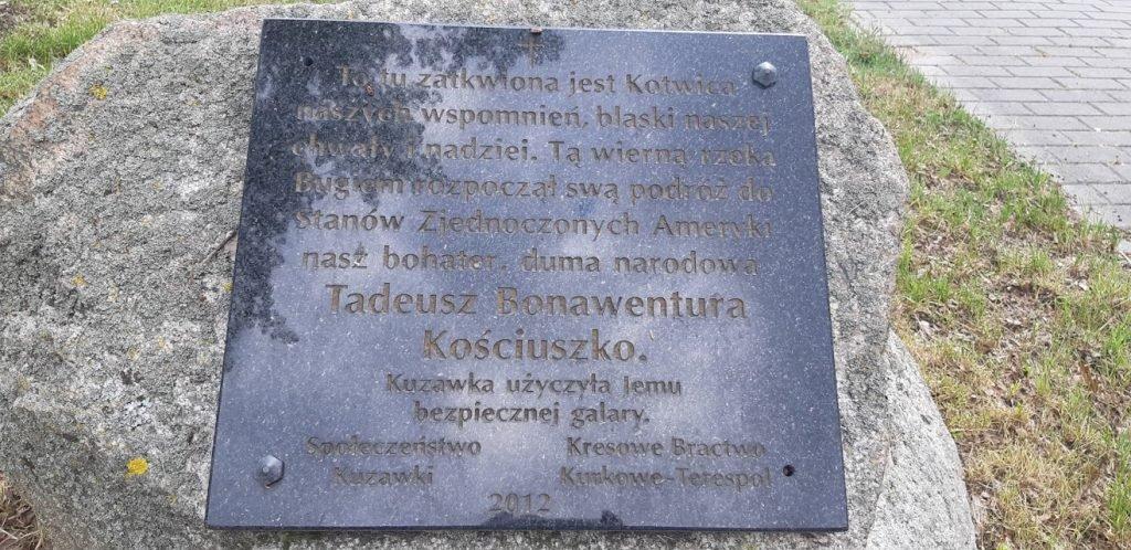 Kuzawka - tablica Tadusz Kosciuszko. Kuzawka - Sławatycze - Jabłeczna