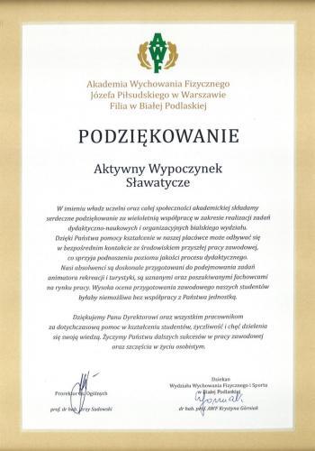awf-podziekowanie Marek Pomietło, aktywny wypoczynek nad bugiem, referencje kajaki