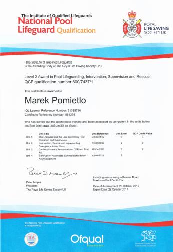 certyfikat-nplq, certyfikat ratownika Marek Pomietło, kajaki nad Bugiem, spływy Bugiem, kajakiem po Bugu, wypożyczalnia kajaków, instruktor kajakarstwa