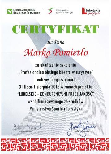 certyfikat Marek Pomietło - kajaki nad Bugiem