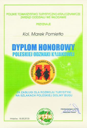 dyplom honorowy Marek Pomietło